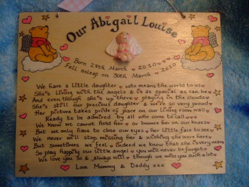 Angel Baby Memorial Wooden Sign Handmade Unique Item Personalised Plaque  little daughter /son Miscarriage Stillborn Pooh Bear